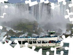 Ship, waterfall, Niagara Falls, cruise