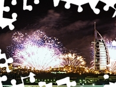 Dubaj, fireworks, Night, Hotel hall