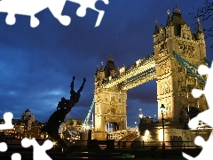 Night, London, bridge, Tower Bridge