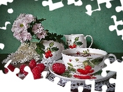 package, small bunch, tea, Raspberries, Do, flowers