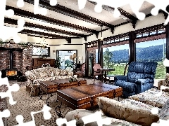 Window, burner chimney, Sofas, panorama, Granate, saloon, Stylish, Mountains, View, Armchair