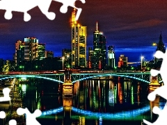 panorama, town, Frankfurt, bridge, Germany
