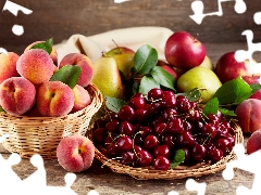 Fruits, Cherries, peaches, Apples