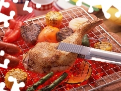 Barbecues, corn, pepper, thigh