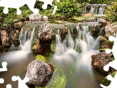 Plants, waterfalls, Stones
