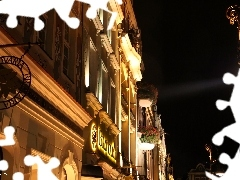 Pozna?, old town, buildings, Night, illuminated