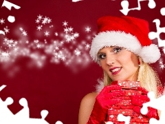 Christmas, Bonnet, Present, girl