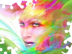 rainbow, streaks, color, make-up, Women