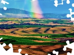 trees, Mountains, Great Rainbows, Palouse, viewes, Valley