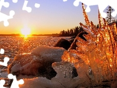 rays, sun, clump, ice, lake