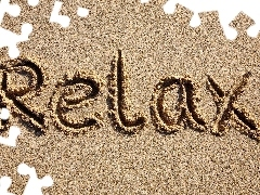 RELAX, text, Sand