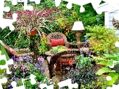 Garden, furniture, relaxation, Flowers