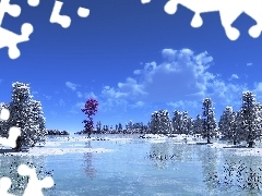 lake, viewes, rime, trees