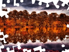 River, reflection, trees, viewes, clouds