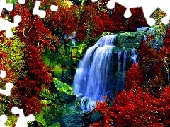 River, autumn, color, waterfall, Colours