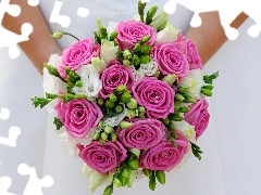 roses, marriage, young, bouquet, lady
