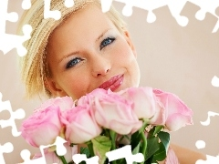 Blonde, bouquet, rouge, Smile