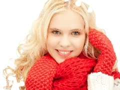 Scarf, winter, Blonde, Gloves, smiling
