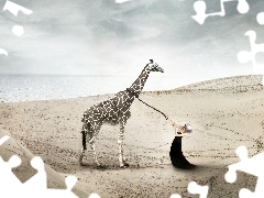 sea, Beaches, giraffe, graphics, Women