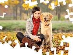 Women, Leaf, shawl, dog