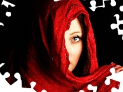 Women, Red, shawl, hand