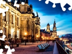 Sights, bench, old, Town, Dresden