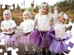 four, purple, Skirts, girls