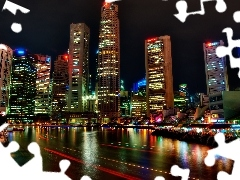 town, Night, Asia, Singapur, skyscrapers, View
