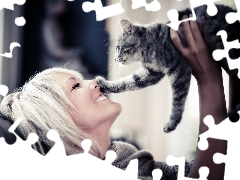 Smile, humor, Blonde, cat, Women