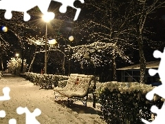 snow, winter, Bench