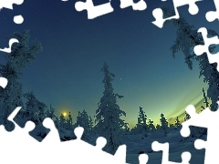 twilight, viewes, snow, trees