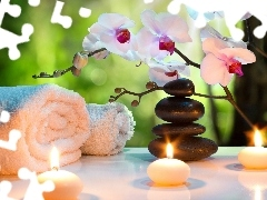 Spa, Stones, Towels, orchids, composition, Candles