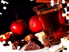 apples, cup, spice, blur, Candies, tea