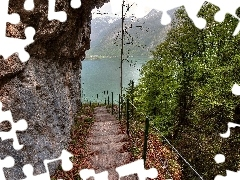 Stairs, descent, lake, Rocks, Mountains