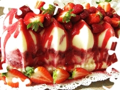 cheesecake, cold, strawberries, an