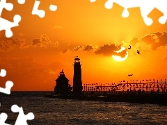 sun, west, Lighthouse, birds, maritime