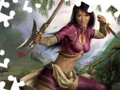 sword, forest, Jade Empire, warrior, Women