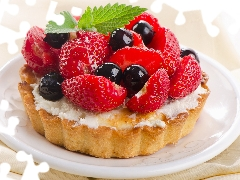 Fruits, strawberries, cakes, Tarts, facial flushing
