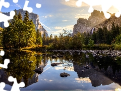 Yosemite National Park, Mountains, viewes, River, trees, State of California, The United States, Stones