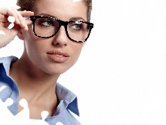 The look, make-up, Women, Glasses