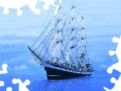 sailing vessel, background, three-master, Blue