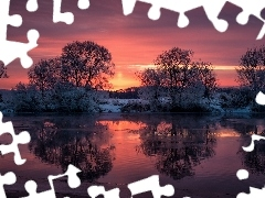 reflection, trees, viewes, winter, Great Sunsets, River