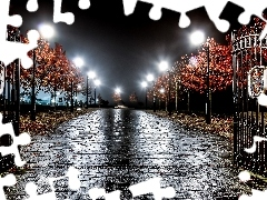 Lamps, Park, trees, viewes, alley, Gate