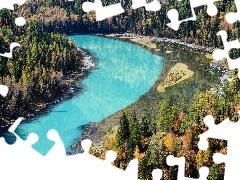turquoise, River, Autumn, forest, landscape
