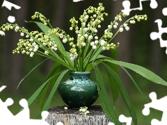 vase, small bunch, trees, viewes, trunk, Lily of the Valley