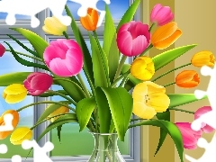 vase, Window, Tulips, glass, color