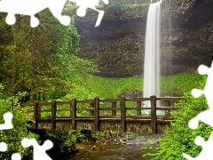 viewes, trees, waterfall, brook, bridges