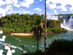 boats, waterfalls, viewes, clouds, trees, Iguazu
