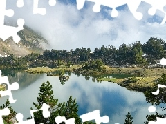 viewes, Fog, Mountains, trees, lake
