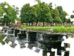 viewes, Park, water, trees, fountain